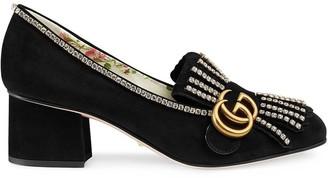 Gucci Suede mid-heel pumps with crystals