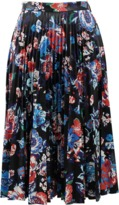 MSGM Faux Leather Floral Skirt