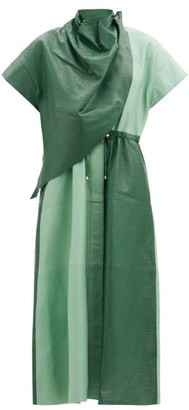 Dodo Bar Or Paula Draped Leather Midi Dress - Green