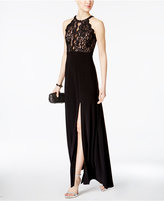 Night Way Nightway Petite Sequined Lace Halter Gown