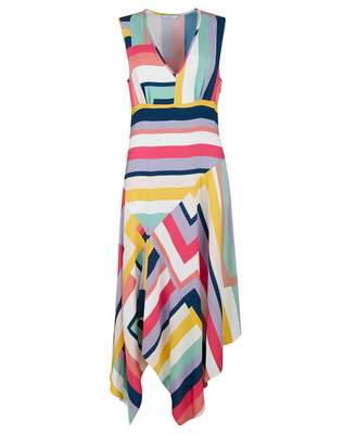Paul Smith Zig Zag Stripe Handkerchief Hem Dress Colour: MULTI, Size: