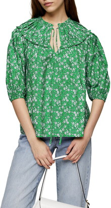Topshop Floral Pleated Bib Blouse