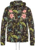 Gucci Detachable-hood jungle-print nylon bomber jacket