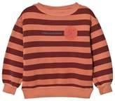 The Animals Observatory Bear Kids Sweatshirt Deep Orange Stripes