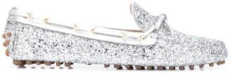 Car Shoe Glitter Detail Flat Loafers