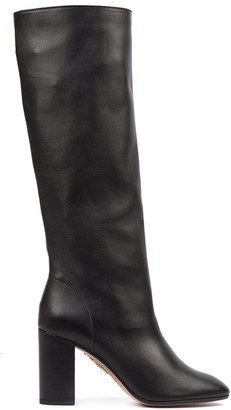 Aquazzura Black Nappa Leather Boogie Boots