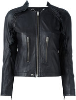 Diesel zipped leather jacket - women - Cotton/Lamb Skin/Acetate - M