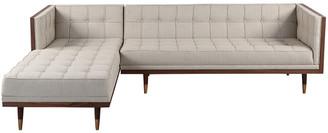 808 Home Woodrow Mid-Century Modern Left Sectional Box Sofa
