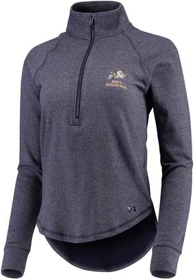 Under Armour Women's Heathered Navy Navy Midshipmen Performance Tri-Blend Fleece 1/2-zip Jacket