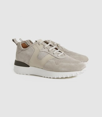 Reiss Zenna - Suede Trainers in Taupe
