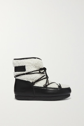 Moon Boot Far Side Two-tone Leather And Shearling Ankle Boots - Black