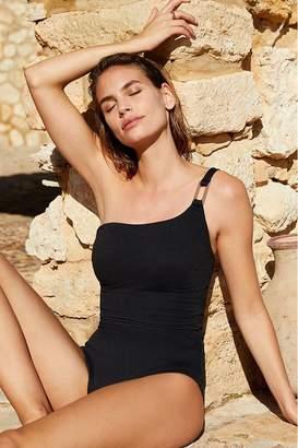 Mint Velvet Womens One Shoulder Hardware Swimsuit - Black