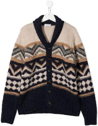 BRUNELLO CUCINELLI KIDS TEEN geometric-knit v-neck cardigan