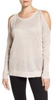 Vince Camuto Petite Women's Metallic Knit Cold Shoulder Sweater
