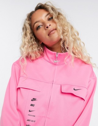 Nike swoosh track jacket in pink