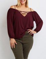 Charlotte Russe Plus Size Lattice Cold Shoulder Top