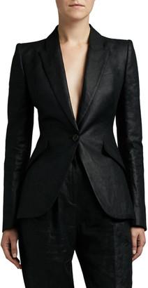 Alexander McQueen Shiny One-Button Blazer