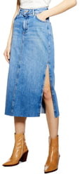 Topshop Split Denim Midi Skirt