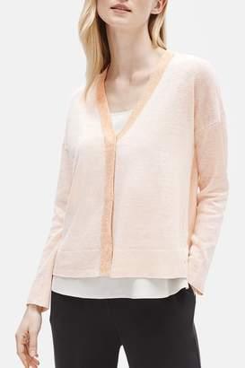 Eileen Fisher Organic Linen Blend V-Neck Cardigan