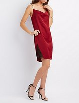 Charlotte Russe Draped Lace-Trim Slip Dress