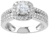 Journee Collection 7/8 CT. T.W. Round-cut Cubic Zirconia Halo Engagement Basket Set Ring in Sterling Silver - Silver