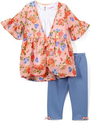 Nannette Kids Girls' Leggings PEACH - Peach Floral Ruffle Tie-Front Cardigan Set - Toddler
