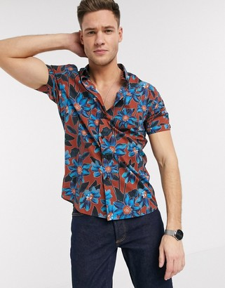 Ted Baker short sleeve shirt with bright floral print in orange