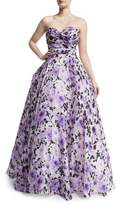 Naeem Khan Sweetheart-Neck Strapless Floral-Print Gown