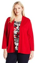 Alfred Dunner Women's Plus Size Twofer Sweater with Floral Tank