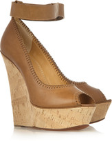 Tiered leather and cork wedge sandals