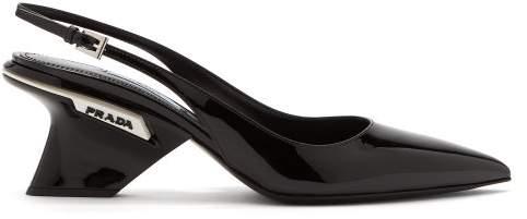 Prada Logo Embellished Patent Leather Slingback Pumps - Womens - Black White