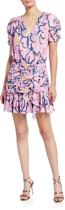 Tanya Taylor Zora Short-Sleeve Squiggle Silk Dress
