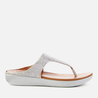FitFlop Women's Banda Crystalled Toe Post Sandals - Silver