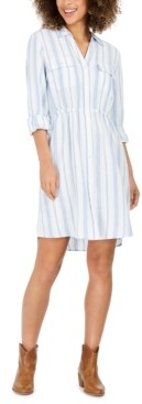 Style&Co. Style & Co Striped Button-Front Linen-Blend Shirtdress, Created for Macy's