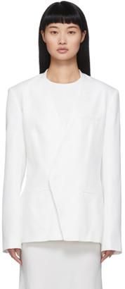 Haider Ackermann White Silk Collarless Blazer