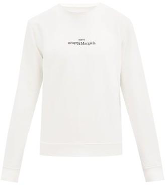 Maison Margiela Logo-embroidered Ribbed-cotton Sweatshirt - White