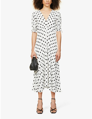 Faithfull The Brand Meja polka dot-print woven midi dress
