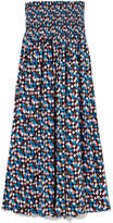 Tory Burch Prism Smocked Printed Voile Midi Dress - Blue