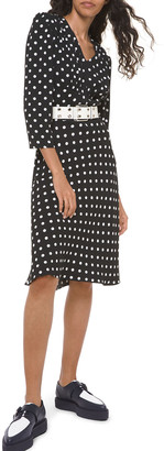 Michael Kors Polka-Dot Belted V-Neck Flared Dress