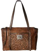 American West Annie's Secret Zip Top Tote w/ Secret Compartment Tote Handbags