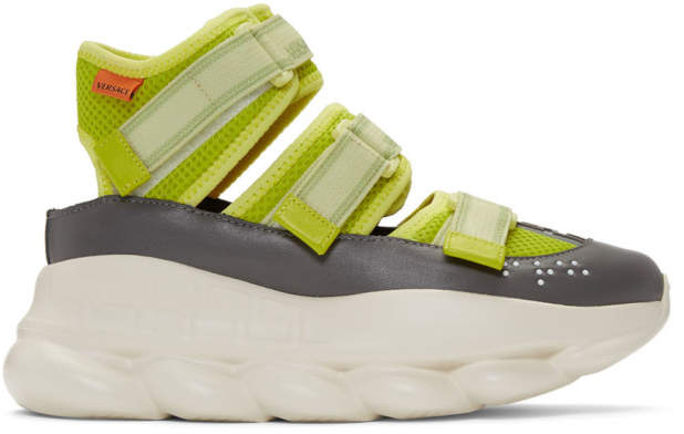 Versace Green Strappy Chain Reaction Sneakers