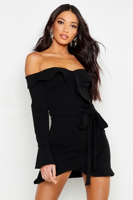 boohoo Off The Shoulder Ruffle Tie Waist Skater Dress