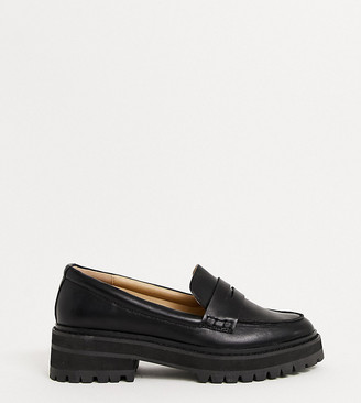 Raid Wide Fit Laney chunky flat shoes in black