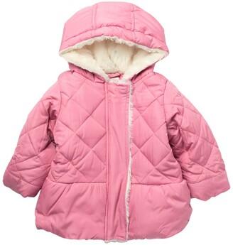 Jessica Simpson Puffer Faux Fur Trim Hooded Jacket