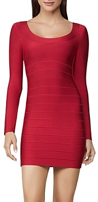 Herve Leger Icon Long-Sleeve Scoop Neck Dress