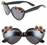 Leith 58mm Rose Embellished Heart Sunglasses
