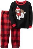Carter's Baby Boy Dog Top & Plaid Fleece Pants Pajama Set
