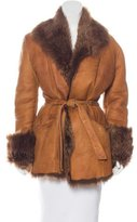 Roberto Cavalli Shearling-Trimmed Leather Coat
