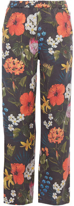 Mother Striped Floral-print Twill Straight-leg Pants