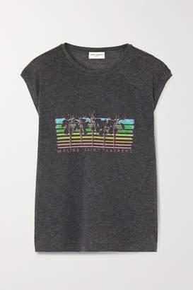 Saint Laurent Distressed Printed Jersey T-shirt - Gray